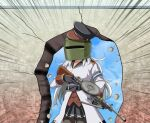 1girl black_gloves black_legwear black_skirt commentary_request cosplay cowboy_shot emphasis_lines gangut_(kancolle) gloves grey_hair gun jacket kantai_collection long_hair pantyhose pleated_skirt rainbow_six_siege rifle skirt solo tachanka_(rainbow_six_siege) tachanka_(rainbow_six_siege)_(cosplay) tk8d32 wall weapon weapon_request welding_mask white_jacket you're_doing_it_wrong