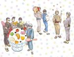 6+boys ahoge arms_at_sides banana bangs beard black_hair black_kimono blonde_hair blue_kimono blue_sash blush_stickers brown_kimono brown_sash carrying_over_shoulder cheekbones cherry crossed_arms cup dot_nose eyebrows_visible_through_hair facial_hair food fruit geta glasses gotou_masamune green_sash grey_kimono hands_up hayashida_takahashi holding holding_spoon ice_cream japanese_clothes kimono kiriyama_rei kumakura_kengo laughing looking_at_another male_focus mandarin_orange matsumoto_issa melon misumi_tatsuyuki multicolored multicolored_background multiple_boys nikaidou_harunobu obi open_mouth oversized_food oversized_object polka_dot polka_dot_kimono ponytail pumpkin red_sash sandals sangatsu_no_lion sash serious shimada_kai_(sangatsu_no_lion) short_ponytail simple_background smile souya_touji sparkle sparkle_background spiky_hair spoon standing striped striped_kimono striped_sash thick_eyelashes tsurime umino_chika v-shaped_eyebrows walking watermelon white_background white_kimono wide_shot yellow_kimono yukata