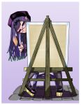 1girl absurdres bangs beret easel geema-geema glasses hair_behind_ear hat highres holding holding_paintbrush hololive hololive_english leaning_to_the_side ninomae_ina'nis paintbrush pantyhose pointy_ears purple_footwear purple_hair purple_headwear smile solo tentacle_hair violet_eyes virtual_youtuber
