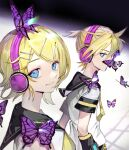 1boy 1girl arm_warmers bangs black_collar black_shorts blonde_hair blue_eyes bug butterfly butterfly_on_nose butterfly_on_shoulder collar collared_shirt commentary hair_ornament hairclip headphones highres insect kagamine_len kagamine_rin light_smile lips looking_at_viewer looking_to_the_side migikata_no_chou_(vocaloid) neckerchief necktie purple_butterfly sailor_collar school_uniform shirt short_hair short_ponytail short_sleeves shorts soyaka spiky_hair standing swept_bangs upper_body vocaloid white_shirt yellow_neckwear