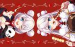 2girls animal bangs blue_eyes braid china_dress chinese_clothes chinese_new_year dango double_bun dress eating food food_in_mouth hair_between_eyes hair_ornament highres holding holding_animal holding_food honkai_(series) honkai_impact_3rd kiana_kaslana kiana_kaslana_(divine_prayer) long_hair looking_at_viewer multiple_girls nasubi_(1ra1ri1ko2cho1mi2na) new_year one_eye_closed open_mouth panda red_background theresa_apocalypse theresa_apocalypse_(valkyrie_pledge) twin_braids wagashi white_hair