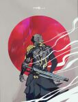 1other absurdres android cable circle commentary cowboy_shot cyberpunk from_behind grey_background highres huge_filesize joints looking_back mechanical_parts original red_background robot_joints science_fiction smoke sword teraka1110 waist_cape weapon