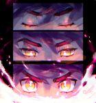 1boy bangs bright_pupils closed_eyes commentary_request energy eyelashes eyes hair_between_eyes half-closed_eyes leon_(pokemon) looking_at_viewer male_focus multiple_views pokemon pokemon_(game) pokemon_swsh poroi_(poro586) purple_hair white_pupils yellow_eyes