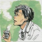 1boy black_hair border can canned_coffee cheekbones coat coffee collared_shirt drink expressionless facing_away fingernails formal from_side green_background grey_eyes half-closed_eyes hand_up holding holding_can jitome looking_afar male_focus necktie open_clothes open_coat parted_lips partially_colored profile sangatsu_no_lion shimada_kai_(sangatsu_no_lion) shirt simple_background skinny steam striped striped_neckwear umino_chika upper_body white_border