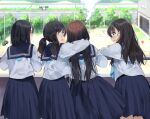 4girls :d absurdres arm_around_neck bangs black_hair blue_neckwear blue_sailor_collar blue_skirt blurry blurry_background blush closed_mouth commentary_request day depth_of_field eyebrows_visible_through_hair fence flying_sweatdrops grey_eyes hair_between_eyes highres long_hair low_twintails multiple_girls open_mouth original outdoors pentagon_(railgun_ky1206) pleated_skirt profile road sailor_collar school_uniform serafuku shirt skirt smile steam tire tree twintails very_long_hair wavy_mouth white_shirt