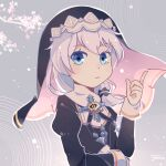 1348551779 1girl blue_eyes cherry_blossoms closed_mouth hair_between_eyes hand_up hat highres honkai_(series) honkai_impact_3rd index_finger_raised long_sleeves looking_at_viewer nun profile side_ponytail solo theresa_apocalypse theresa_apocalypse_(valkyrie_pledge) white_hair