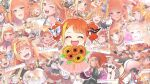 1girl :d ^_^ bouquet chibi closed_eyes collage commentary_request english_text facing_viewer fangs flower happy hololive horns isuka kiryu_coco open_mouth orange_hair pointy_ears red_eyes smile sunflower virtual_youtuber younger