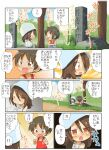 ! !! ... 1boy 1girl :d =3 ^^^ bangs blue_headwear blue_shorts blue_sky brown_eyes brown_hair chibi clouds cloudy_sky commentary_request day dress eyebrows_visible_through_hair frown girls_und_panzer grass highres jinguu_(4839ms) looking_at_another medium_hair mika_(girls_und_panzer) notice_lines open_mouth outdoors path red_shirt shirt short_hair shorts sigh sitting sky smile spoken_ellipsis standing sundress tan tank_top tombstone translation_request tree tulip_hat white_dress younger