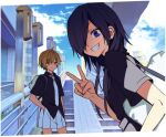 2girls ahoge bag black_hair black_shirt blonde_hair blue_eyes blue_sky bored closed_mouth clouds collared_shirt commentary_request day fang grin hair_over_one_eye hand_in_pocket leaning_forward long_hair looking_at_another looking_at_viewer multiple_girls necktie ningiyau one_eye_covered outdoors pleated_skirt school_bag school_uniform schoolzone shirt short_hair short_sleeves shoulder_bag skirt sky smile stairs sugiura_kei v white_neckwear white_skirt yellow_eyes yokoe_rei