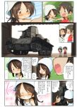 ... 1boy 1girl bangs blue_headwear blue_shorts blush brown_eyes brown_hair chibi closed_eyes closed_mouth commentary_request day dilapidated dress eyebrows_visible_through_hair frown girls_und_panzer grin ground_vehicle hands_on_hips highres holding_hands jinguu_(4839ms) looking_at_another looking_back medium_hair mika_(girls_und_panzer) military military_vehicle motor_vehicle open_mouth outdoors pointing red_shirt shirt short_hair shorts smile spoken_ellipsis standing sundress sweatdrop tan tank tank_top translation_request tulip_hat vehicle_request white_dress younger