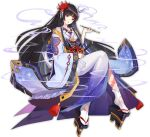 1girl ark_order artist_request butterfly_hair_ornament cloud_print floral_print flower geta gradient_kimono hair_flower hair_ornament hair_ribbon holding holding_pipe invisible_chair izanami_(ark_order) japanese_clothes katana kimono long_hair long_sleeves official_art oni_mask pipe purple_kimono red_nails ribbon sheath sheathed sitting smoke snake_tattoo socks solo spider_lily sword tabi tassel very_long_hair weapon white_legwear white_ribbon wide_sleeves