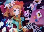 1girl :q absurdres ace_of_spades animal animal_ears aqua_eyes aqua_jacket black_shorts blonde_hair bow bowtie card chair commentary crossed_legs cup gloves highres holding holding_teapot jacket kagamine_rin looking_at_viewer neckerchief orange_neckwear orange_vest playing_card pouring project_sekai rabbit_ears scrunchie short_hair shorts single_glove sitting star_(sky) starry_background striped striped_legwear table teacup teapot thigh-highs tongue tongue_out vest vocaloid white_gloves wrist_scrunchie xuxu_(02rinrinlove) yellow_neckwear