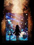1girl absurdres bird comet commentary_request curtains dove harada_miyuki highres katana looking_at_viewer medium_hair nijisanji painting_(object) shadow sky solo standing star_(sky) starry_sky suzuhara_lulu sword tombstone virtual_youtuber weapon