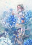 1girl absurdres alice_in_wonderland blue_butterfly blue_theme blush bow brown_hair bucket bug butterfly clenched_hand cotolier_risa dress english_commentary flower frilled_dress frills hair_bow highres holding holding_paintbrush hydrangea insect ladder outdoors paint_can paintbrush painting rain shoes short_hair signature solo standing stepladder white_legwear