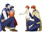 1girl 3boys armor beard blue_hair cape delsaber dress eliwood_(fire_emblem) facial_hair father_and_daughter father_and_son fire_emblem fire_emblem:_the_binding_blade fire_emblem:_the_blazing_blade hand_on_own_chest hector_(fire_emblem) lilina_(fire_emblem) looking_at_another multiple_boys older open_mouth outstretched_hand red_dress redhead robe roy_(fire_emblem) smile younger