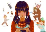 4boys 4girls absurdres artist_name bangs black_headwear black_jacket black_sailor_collar blush_stickers bracelet brown_hair brown_jacket brown_pants brown_vest cake carrying cheek_bulge child closed_mouth danganronpa_(series) danganronpa_v3:_killing_harmony eating falling food glasses gokuhara_gonta green_hair hair_ornament hair_scrunchie hairclip hands_up harukawa_maki hat highres holding holding_plate hoshi_ryouma jacket jewelry long_hair low_twintails missarilicious mole mole_under_eye multiple_boys multiple_girls open_mouth pants party_hat piggyback plate red_eyes red_scrunchie red_shirt redhead sailor_collar scrunchie shirt twintails upper_teeth vest witch_hat yumeno_himiko