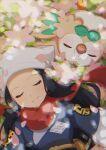 1girl blue_hair blue_kimono blush closed_eyes female_protagonist_(pokemon_legends:_arceus) flower gen_7_pokemon gracidea head_scarf highres japanese_clothes kimono light_particles long_hair lying on_back petals pink_flower pokemon pokemon_(creature) pokemon_(game) pokemon_legends:_arceus red_scarf rowlet scarf sidelocks sleeping smile taisa_(lovemokunae) white_headwear