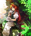 1girl bangs beret braid commentary_request cup dappled_sunlight day feet_out_of_frame green_eyes green_headwear green_shirt green_skirt hat hat_ornament highres holding hong_meiling kaigen_1025 long_hair outdoors pants puffy_short_sleeves puffy_sleeves red_eyes redhead saucer shirt short_sleeves sitting skirt solo star_(symbol) star_hat_ornament sunlight teacup touhou twin_braids white_pants