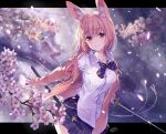 1girl animal_ear_fluff animal_ears bangs blurry blurry_background blush bow bowtie breasts cardigan cherry_blossoms closed_mouth collared_shirt commentary_request cowboy_shot dated dress_shirt eyebrows_visible_through_hair fox_ears hair_between_eyes highres holding holding_sword holding_weapon katana large_breasts letterboxed long_hair long_sleeves looking_at_viewer miniskirt open_cardigan open_clothes original outside_border petals pink_cardigan pink_eyes pink_hair plaid plaid_skirt purple_bow purple_neckwear purple_skirt sanbasou school_uniform sheath shirt signature skirt smile solo striped striped_bow striped_neckwear sword weapon white_shirt