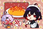 2girls 6_(yuchae) :p antenna_hair apron bangs breathing_fire fire food hair_between_eyes hair_ornament hairpin holding honkai_(series) honkai_impact_3rd ketchup ketchup_bottle maid maid_apron maid_headdress multicolored_hair multiple_girls omelet open_mouth purple_hair red_eyes redhead seele_(alter_ego) seele_vollerei sin_mal spicy spoon tongue tongue_out two-tone_hair v-shaped_eyebrows