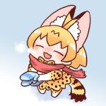 1girl ^_^ ^o^ animal_ear_fluff animal_ears animal_print blue_background blue_mittens bow bowtie breath chibi closed_eyes cold commentary_request extra_ears facing_viewer from_above from_side full_body gloves hands_up happy holding inukoro_(spa) kemono_friends lowres mittens no_nose orange_hair pinky_out print_bow print_gloves print_legwear print_neckwear print_skirt red_scarf scarf serval_(kemono_friends) serval_ears serval_print serval_tail short_hair skirt solo standing tail |3