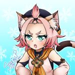 1girl :o animal_ears aqua_background artist_name bangs bangsutur cat_ears cat_tail choker commentary_request dated detached_sleeves diona_(genshin_impact) genshin_impact green_eyes hat looking_at_viewer pink_hair short_hair sidelocks signature simple_background snowflakes solo stalkingp tail thick_eyebrows v-shaped_eyebrows