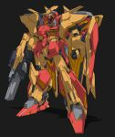 absurdres beastkingbarbaros black_background clenched_hands fusion gun gundam gundam_hathaway's_flash highres holding holding_gun holding_weapon mecha messer_(mobile_suit) mobile_suit no_humans science_fiction solo standing visor weapon xi_gundam