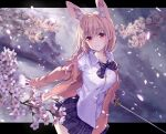 1girl animal_ear_fluff animal_ears bangs blurry blurry_background blush bow bowtie breasts cardigan cherry_blossoms closed_mouth collared_shirt cowboy_shot dated dress_shirt eyebrows_visible_through_hair fox_ears hair_between_eyes highres holding holding_sword holding_weapon katana large_breasts letterboxed long_hair long_sleeves looking_at_viewer miniskirt open_cardigan open_clothes original outside_border petals pink_cardigan pink_eyes pink_hair plaid plaid_skirt purple_bow purple_neckwear purple_skirt sanbasou school_uniform shirt signature skirt smile solo striped striped_bow striped_neckwear sword weapon white_shirt