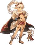 1girl blonde_hair blue_eyes cape chibi closed_mouth clothing_request dual_persona flip-flops grey_eyes hands_on_hips long_hair long_sleeves matilda_penthesilea mitra_sphere non-web_source official_art pointy_ears ponytail red_cape sandals solo thigh_strap tiara transparent_background