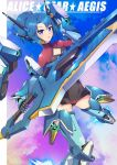 1girl alice_gear_aegis bangs blue_eyes blue_hair bodysuit character_request clouds copyright_name flying gamiani_zero highres holding holding_sword holding_weapon looking_at_viewer mecha_musume open_hand open_mouth ponytail science_fiction sky smile solo sword weapon