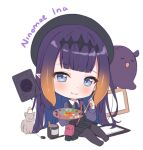 1girl animal ao-chan_(ninomae_ina'nis) bangs beret big_head bird black_dress black_headwear blue_eyes cat character_name charging_device chibi chick commentary drawing_tablet dress english_commentary english_text eyebrows_visible_through_hair fang hair_ornament hat headpiece hitsukuya holding holding_paintbrush holding_palette hololive hololive_english long_hair looking_at_viewer ninomae_ina'nis official_alternate_costume orange_hair paint_can paintbrush palette pantyhose pink_bag pointy_ears purple_hair purple_legwear purple_shirt shirt simple_background sitting skin_fang smile stylus tablet_pc tako_(ninomae_ina'nis) tentacle_hair white_background