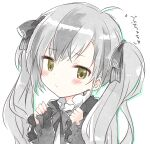 black_bow black_dress black_hair blush bow brown_eyes closed_mouth colored_shadow dress drop_shadow grey_hair hair_bow hands_up kamiyoshi_rika long_hair long_sleeves multicolored_hair nijisanji shadow sleeves_past_wrists solo streaked_hair suzuki_masaru translation_request twintails upper_body virtual_youtuber white_background