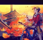 1boy autumn_leaves backpack backwards_hat bag baseball_cap bicycle blurry blush building commentary_request ethan_(pokemon) grey_bag ground_vehicle hand_up hanenbo hat highres holding jacket letterboxed long_sleeves looking_to_the_side male_focus outdoors pokemon pokemon_(game) pokemon_gsc red_jacket riding_bicycle short_hair shorts signature sky solo yellow_shorts