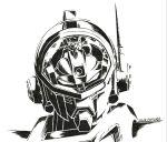 1boy 2013 aoki_ryuusei_spt_layzner artist_name asuka_eiji canopy greyscale highres ink_(medium) layzner looking_at_viewer mecha monochrome radio_antenna science_fiction solo tam_(garakuta_kaizou_ningen) traditional_media