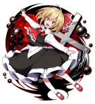 1girl :d ascot bangs black_skirt black_vest blonde_hair bubble chain cross eyebrows_visible_through_hair fang full_body hair_ribbon highres kuroshirase long_sleeves looking_at_viewer open_mouth outstretched_arms red_eyes red_footwear red_neckwear red_ribbon ribbon rumia shirt short_hair skin_fang skirt smile solo touhou vest white_legwear white_shirt