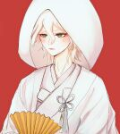 1boy a_po_(liuxiaobo0413) bangs blush brown_eyes closed_mouth commentary_request dangan_ronpa_(series) dangan_ronpa_2:_goodbye_despair fan folding_fan hair_between_eyes highres holding holding_fan hood hood_up japanese_clothes kimono komaeda_nagito long_neck looking_at_viewer male_focus paper_fan red_background short_hair simple_background solo upper_body