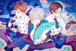 3boys :q ahoge anchor_symbol annoyed aohitsugi_samatoki apron bangs black_pants blue_apron blue_background blue_jacket blue_neckwear blue_theme blueberry brown_hair busujima_riou_mason buttons checkered checkered_background cheese chef_uniform commentary cookie_cutter earrings eating eyebrows_visible_through_hair feet_out_of_frame food fruit glasses gloves green_eyes holding holding_food holding_stuffed_toy hypnosis_mic iruma_juuto jacket jewelry kanose long_sleeves looking_down looking_to_the_side lower_teeth mad_trigger_crew male_focus multiple_boys necktie open_mouth pants rectangular_eyewear red_eyes red_gloves rolling_pin semi-rimless_eyewear shirt short_hair silver_hair sitting stud_earrings stuffed_animal stuffed_dolphin stuffed_toy tongue tongue_out waist_apron whisk white_shirt