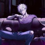 1boy ashtray bangs black_shirt blue_eyes blue_pants cigarette_butt closed_mouth couch cowboy_shot cup ear_piercing gojou_satoru hair_between_eyes highres holding holding_cup iiiki_4u indoors jewelry jujutsu_kaisen looking_at_viewer male_focus necklace pants piercing shirt short_hair short_sleeves sitting solo table torn_clothes torn_pants watch watch white_hair wristband