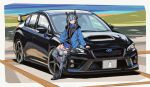 1girl animal_ears arknights bangs blue_eyes blue_hair candy car driftman eyebrows_visible_through_hair food food_in_mouth glaucus_(arknights) ground_vehicle headgear highres lollipop long_sleeves low_twintails motor_vehicle multicolored_hair rhodes_island_logo solo streaked_hair subaru_wrx thigh-highs twintails