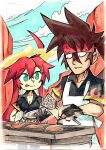 1boy 1girl ahoge brown_hair cooking fingerless_gloves forehead_protector gloves green_eyes grill guilty_gear guilty_gear_strive halo highres jack-o'_valentine long_hair multicolored_hair redhead setz sol_badguy two-tone_hair