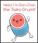 :3 arm_up black_border black_eyes blank_eyes border character_name drum english_text full_body happy highres instrument jpeg_artifacts kaips looking_at_viewer no_humans open_mouth simple_background sketch smile solid_circle_eyes solo standing taiko_drum taiko_no_tatsujin talking wada_don white_background