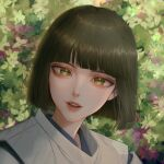 1boy bangs bishounen black_hair blunt_bangs bob_cut green_eyes haku_(sen_to_chihiro_no_kamikakushi) head_tilt highres japanese_clothes jyeri_(pgi6798) kariginu leaf lens_flare light_particles lips looking_at_viewer male_focus nose parted_lips plant portrait sen_to_chihiro_no_kamikakushi short_hair solo