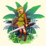 1boy artist_name bangs blonde_hair blue_eyes boots brown_footwear brown_pants brown_shirt full_body green_headwear green_shirt holding holding_shield holding_sword holding_weapon knee_boots link long_sleeves looking_up male_focus medium_hair pants plant pointy_ears shield shirt solo standing sword the_legend_of_zelda the_legend_of_zelda:_link's_awakening tunic weapon xelgot