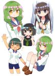4girls :d :o ^_^ aura black_hair black_sailor_collar black_shirt blonde_hair blue_sailor_collar blue_shorts blue_skirt blush braid breasts brown_footwear brown_neckwear closed_eyes closed_mouth collared_shirt dark_aura dohna_dohna empty_eyes fang green_hair green_neckwear grey_eyes gym_shirt gym_shorts gym_uniform highres holding holding_knife hugging_own_legs knees_up knife loafers long_hair mob_(dohna_dohna) multicolored_hair multiple_girls multiple_views naga_u neckerchief open_mouth parted_lips pleated_skirt puffy_short_sleeves puffy_sleeves red_neckwear sailor_collar school_uniform serafuku shirt shoes short_shorts short_sleeves shorts simple_background sitting skirt small_breasts smile socks streaked_hair twin_braids white_background white_legwear white_shirt yellow_eyes