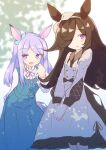 2girls :d absurdres animal_ears bangs blue_dress blue_ribbon blush brown_hair brown_hairband brown_ribbon commentary_request dress ear_ribbon eyebrows_visible_through_hair frilled_dress frills hair_over_one_eye hair_ribbon hairband hands_together highres horse_ears horse_girl horse_tail ichi leaning_forward long_sleeves mejiro_mcqueen_(umamusume) multiple_girls open_mouth own_hands_together parted_bangs parted_lips puffy_long_sleeves puffy_sleeves purple_hair ribbon rice_shower_(umamusume) shirt sleeveless sleeveless_dress smile tail umamusume violet_eyes white_dress white_shirt