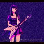 1girl bangs blunt_bangs breasts choker dress electric_guitar english_text guitar highres holding holding_instrument instrument kokudou_juunigou limited_palette medium_hair open_mouth original puffy_short_sleeves puffy_sleeves purple_dress purple_hair purple_theme short_dress short_sleeves small_breasts solo standing static straight_hair subtitled upper_body upper_teeth violet_eyes