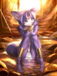 1girl :3 absurdres ancesra animal_ear_fluff animal_ears animal_nose aqua_eyes arm_tattoo artist_name bandeau bare_shoulders barefoot blue_fur body_fur choker circlet closed_mouth crossed_arms crystal forest fox_ears fox_girl fox_tail full_body furry gold hairband hand_on_own_shoulder hands_up happy highres knees_together_feet_apart knees_up krystal leg_tattoo legs light_particles light_rays loincloth looking_at_viewer nature navel outdoors partially_submerged patreon_username paws polearm rock ruby_(gemstone) shin_guards short_hair sitting smile snout solo spear star_fox stream sunlight sunset tail tail_ornament tail_ring tattoo tree two-tone_fur vambraces water watermark weapon web_address wet white_fur yellow_choker yellow_hairband