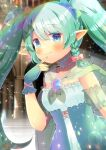 1girl :3 bangs blue_bow blue_eyes blurry blurry_background blush bow braid breasts cape closed_mouth depth_of_field dress eyebrows_visible_through_hair finger_to_mouth fingerless_gloves gloves green_cape green_gloves green_hair green_nails hair_between_eyes hair_bow hand_up indie_virtual_youtuber kouu_hiyoyo long_hair nail_polish pastel_chrome pink_bow pointy_ears see-through side_braid single_braid small_breasts smile solo strapless strapless_dress twintails very_long_hair virtual_youtuber white_dress