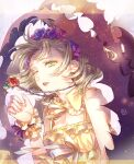 1girl blonde_hair briar_rose_(sinoalice) dr. flower frills green_eyes head_wreath jewelry looking_away necklace one_eye_closed pajamas plant ribbon short_hair signature simple_background sinoalice solo sparkle thorns tired vines wrist_cuffs