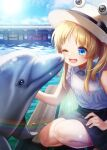 1girl ;d absurdres animal blonde_hair blue_eyes blue_sky blush casual clouds commentary_request day dolphin eyebrows_visible_through_hair eyes hat highres long_hair looking_at_animal moriya_suwako nora_wanko one_eye_closed open_mouth pool shirt sky sleeveless sleeveless_shirt smile solo squatting touhou water white_headwear white_shirt